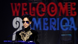 """Prince holds a 2010 news conference at The Apollo Theater announcing his """"Welcome 2 America"""" tour in New York."""
