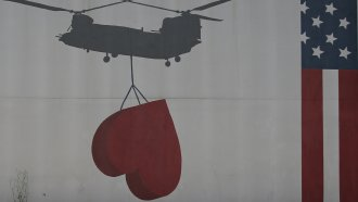 Helicopter's shadow on the U.S. Embassy in Kabul