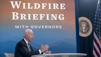 President Joe Biden speaks during a wildfire breifing with governors