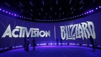 This June 13, 2013 file photo shows the Activision Blizzard Booth during the Electronic Entertainment Expo in Los Angeles.