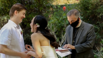 Claire Bokal and her husband during wedding ceremony