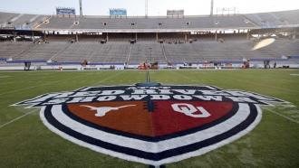 Red River Showdown logo on a field