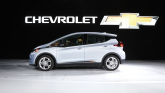 the Chevrolet Bolt is on display at the North American International Auto Show in Detroit.
