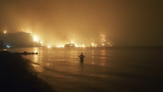 A man watches as wildfires approach Kochyli beach near Limni village on the island of Evia