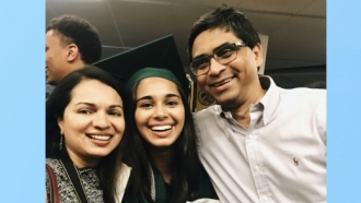 Pareen Mhatre with her parents