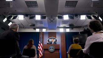 Pentagon spokesman John Kirby speaks during a briefing at the Pentagon in Washington, Thursday, Aug. 12, 2021.