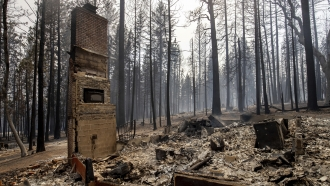 A chimney is left standing after a property was destroyed by the Caldor Fire in Grizzly Flats, California