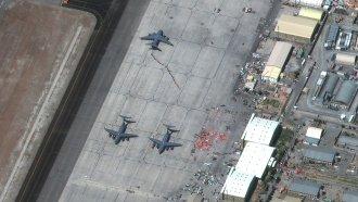 Aircraft at Hamid Karzai International Airport, in Kabul, Afghanistan on Friday.