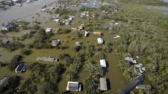 Homes are flooded in the aftermath of Hurricane Ida,