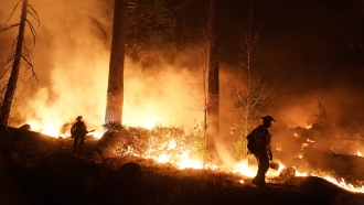 Two firefighters monitor the Caldor Fire burning near homes in South Lake Tahoe, Calif.