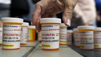 Pill bottles at a protest against Oxycontin, Purdue Pharma and the Sackler family.