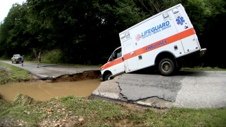 Flooding causes road issues.