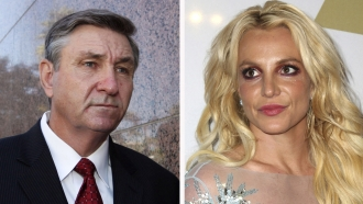 Jamie Spears, left, father of Britney Spears, and Britney Spears, right