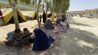 Afghans in displacement camp