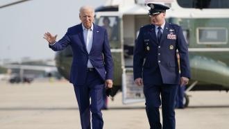 President Joe Biden arrives to board Air Force One.
