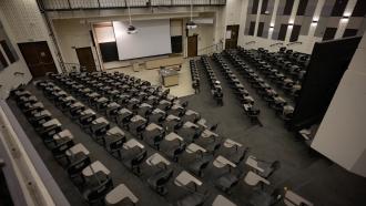 Empty college classroom.