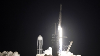 A SpaceX Falcon 9 lifts off with four private citizens from Pad 39A at the Kennedy Space Center in Cape Canaveral, Fla.
