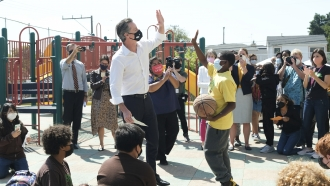 Gov. Gavin Newsom meets with students at Melrose Leadership Academy,