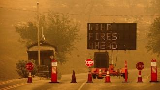 Cones block the entrance to Sequoia National Park, California