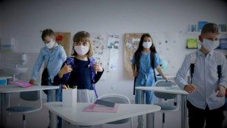 Students wear masks.