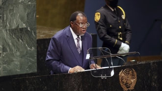 The President of Namibia, Hage Geingob, addresses the 76th Session of the U.N. General Assembly.