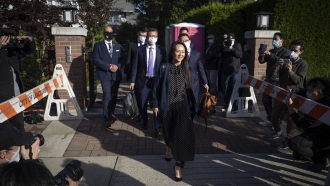 Meng Wanzhou, chief financial officer of Huawei Technologies, leaves her home in Vancouver