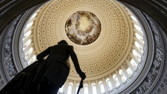 The Rotunda of the U.S. Capitol is seen as a consequential week begins for President Joe Biden's agenda