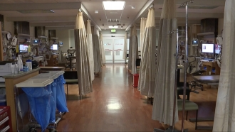 Inside an empty hospital.