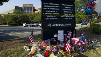 Memorial ouside the office building of The Capital Gazette newspaper in Annapolis, Maryland.