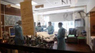Inside a hospital room.