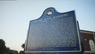 Plaque about the Tulsa Race Massacre