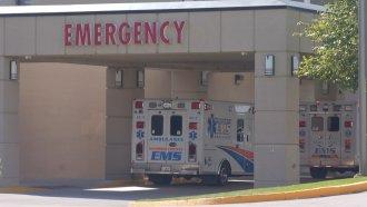 Ambulance outside an emergency room.