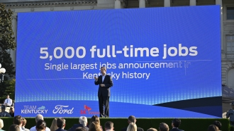 Kentucky Gov. Andy Beshear announces new Ford electric battery factories.