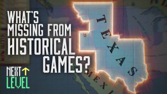 """A distorted map of Texas, under the caption """"What's Missing From Historical Games?"""""""