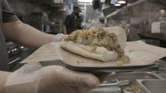 A plant-based Italian beef sandwich