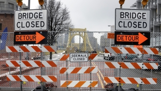Bridge closed and detour signs