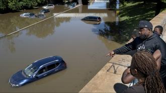 Vehicles stranded in New York flood waters following Hurricane Ida.