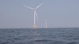 Wind turbines off the U.S. East Coast.