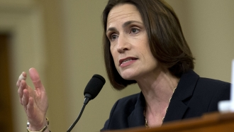 Former White House national security aide Fiona Hill testifies during a public impeachment hearing of then-President Trump