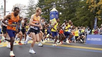 Runners at the starting line of the Boston Marathon.