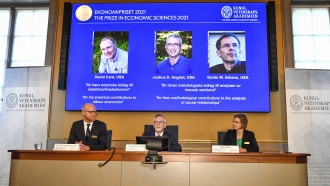 The 2021 Nobel prize for economics is announced.