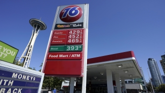 Gas prices are shown at a station in Seattle, Washington.