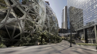 Amazon campus outside the company headquarters in Seattle