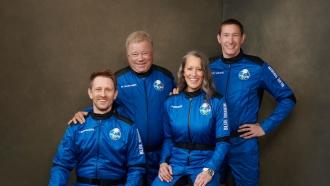 William Shatner and the crew of Blue Origin's second crewed launch
