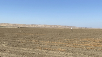 Bare California farmland that has not been planted because of drought