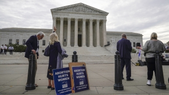 Abortion activists demonstrating outside the Supreme Court in Washington.