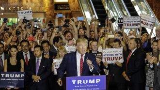 Then-Republican presidential candidate Donald Trump holding a news conference in Trump Tower in New York