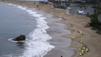 Workers in protective suits clean the contaminated beach in Corona Del Mar after an oil spill in Newport Beach, Calif.