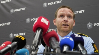 Police Inspector Per Thomas Omholt holds a press conference about the development in the murder case in Kongsberg, Norway.