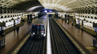A train arrives at Metro Center station in Washington.